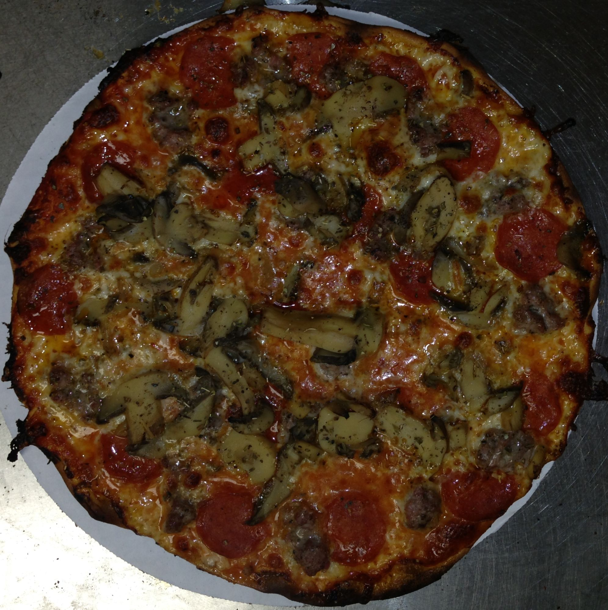 Fricanos Pepperoni, Italian Sausage, Mushroom Pizza Pie.jpg